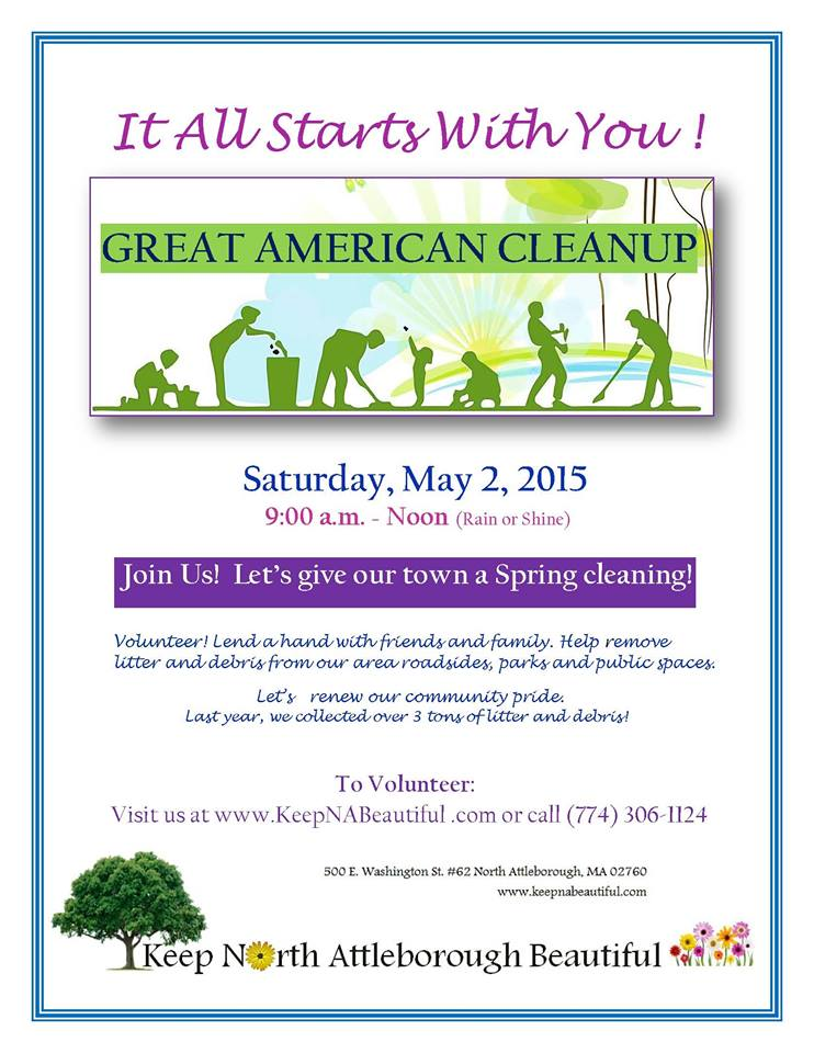 Join us – and all of your friends, family and neighbors - as we come out to help clean up litter from our community's roadsides, parks, neighborhoods, and anywhere that needs a little help.  Read more below this flyer or click to go to the Keep North Attleborough Beautiful website!